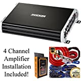 Kicker 250 Watts Full Range 4 Channel Car Audio Amplifier + 4 Channel Amp Kit