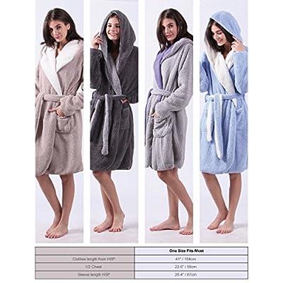 ALL AOER Hooded Bathrobe for Womens, Wear Reversible Ladies Short Sherpa Robes, Pink Cozy Lightweight