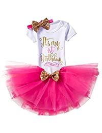 IWEMEK Baby Girl 4Pcs My 1st/2nd Birthday Cake Smash Romper Tutu Skirt Outfit