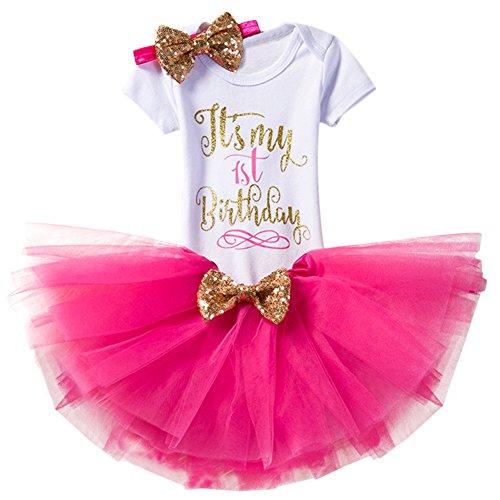 FYMNSI Newborn Baby Toddler Girls It's My 1st / 2nd Birthday Cake Smash Romper + Tutu Skirt with Bowknot + Headband 3 Pcs Outfits