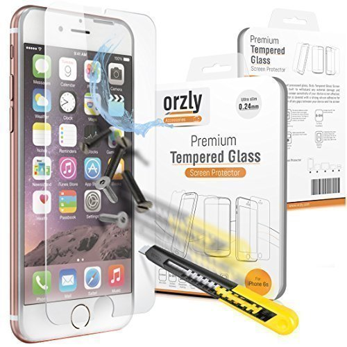 Orzly - Premium Tempered Glass Screen Protector for Apple iPhone 6 & 6S (2014 & 2015 Version of 4.7 Inch Model) - 0.24mm Protective Oleophopbic Screen Guard - Transparent