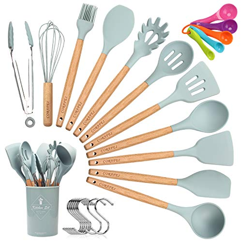 CORAFEI Silicone Cooking Kitchen 11 PCS Acacia Wooden Utensils Tool for Nonstick Cookware,BPA Free, Non Toxic Turner Tongs Spatula Spoon Set with Holder (Best New Cooking Tools)