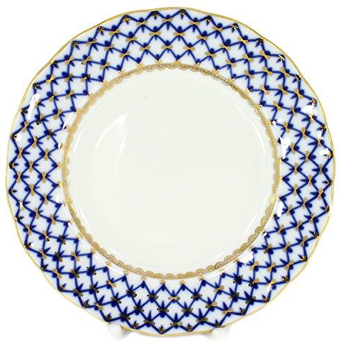 Lomonosov Porcelain Cake Dessert Plate Cobalt Net Plate 7 Inches Diameter