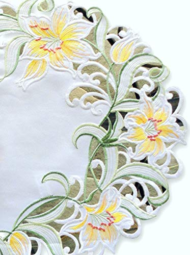 - Galleria di Giovanni Spring Lily Table Runner Dresser Scarf Runner Embroidered 54