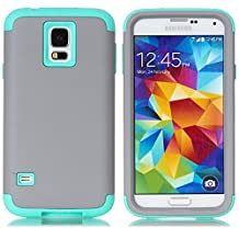 Galaxy S5 Case,LUOLNH 3-Piece High Impact Hybrid Defender Case For Samsung Galaxy S5 i9600 (not fit Galaxy S5 mini 2014)(Grey+Mint)
