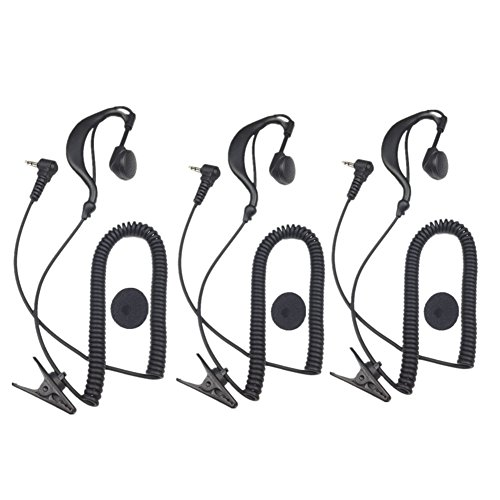 2.5MM 1 Pin G Shape Soft Ear Hook Listen / Receiver Only Earpiece Headset Compatible for 2-way Motorola Icom Ham Kenwood Radio Transceivers, Pack of 3, Lsgoodcare ()