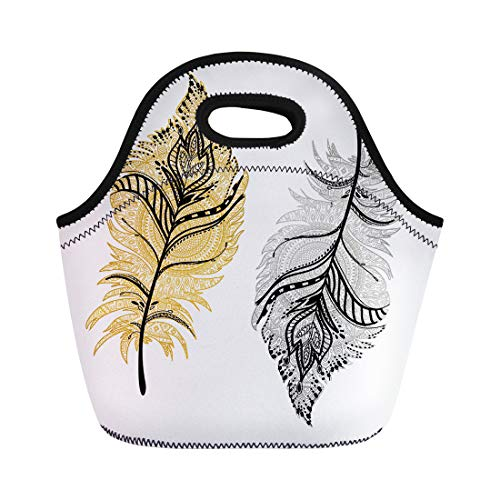 - Semtomn Neoprene Lunch Tote Bag Pink Bird of Gold and Silver Boho Feathers Mandala Reusable Cooler Bags Insulated Thermal Picnic Handbag for Travel,School,Outdoors,Work
