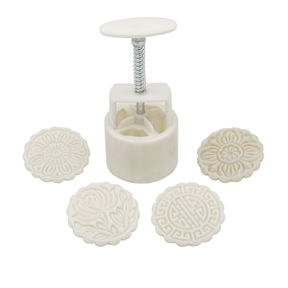 Round Mooncake DIY Chinese Moon Cake Mold Cookie Cutter with 4 Flower Pattern Stamps Decoration Tong Yue
