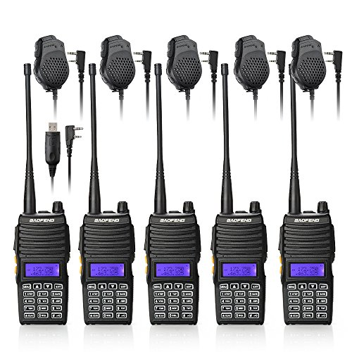 Radio Handheld Dual (Baofeng 5PCS UV-5X Mate Handheld Two-way radio VHF136-174MHz UHF400-520MHz Dual Display Standby Transceiver Walkie Talkie with 5xMic+Tokmate Programming Cable)