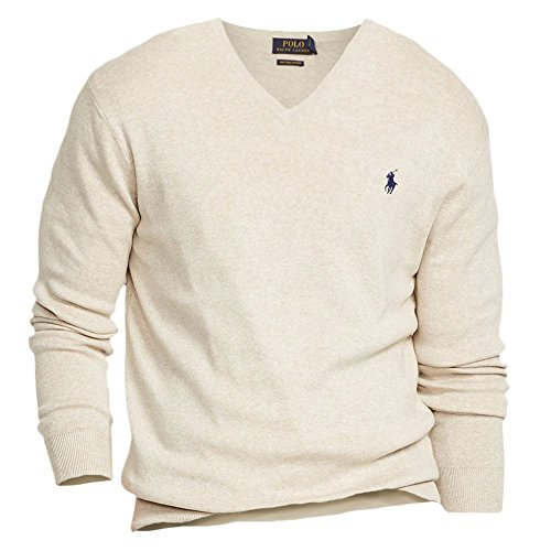 Polo Ralph Lauren Beige Pima Cotton V-neck Sweater XXL