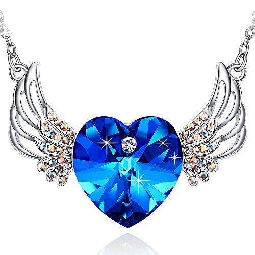 Special Outlook Love Heart Necklace - Angel Wings Blue Crystal Pendant Jewelry for Women and Girls
