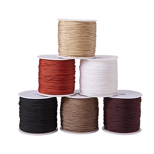 PandaHall Elite 6 Colors 0.8mm Nylon Beading String Knotting Cord, Chinese Knotting Cord Nylon Shamballa Macrame Thread Beading Cord, 6 x 100yards Spool