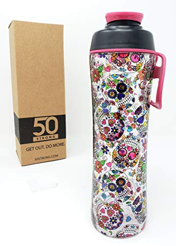 50 Strong BPA Free Gym Water Bottle with Ice Guard Flip Top Cap & Carry Loop - Cute Designer Prints - Perfect for Men, Women, Sports & Workout - 24 oz. - Made in USA (Sugar Skulls, 24 oz.)