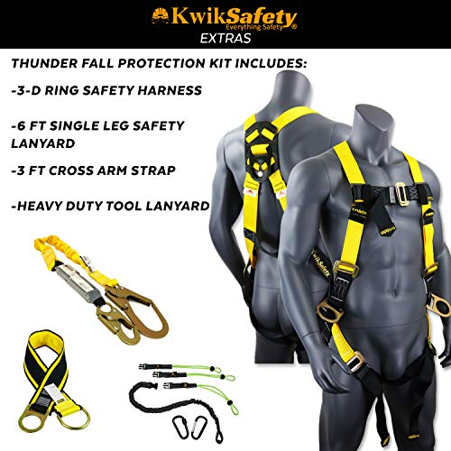 KwikSafety (Charlotte, NC) THUNDER KIT | 3D Full Body Safety Harness, 6' Lanyard, Tool Lanyard, 3' Cross Arm Strap Anchor ANSI OSHA PPE Fall Protection Arrest Restraint Construction Roofing Bucket by KwikSafety (Image #2)