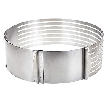 Molde ajustable para tartas de 9 a 12 pulgadas, acero inoxidable, herramienta para cortar pan y pasteles: Amazon.es: Hogar