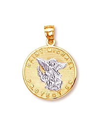 14k Two-Tone Gold Saint Michael Medal Protection Charm Pendant