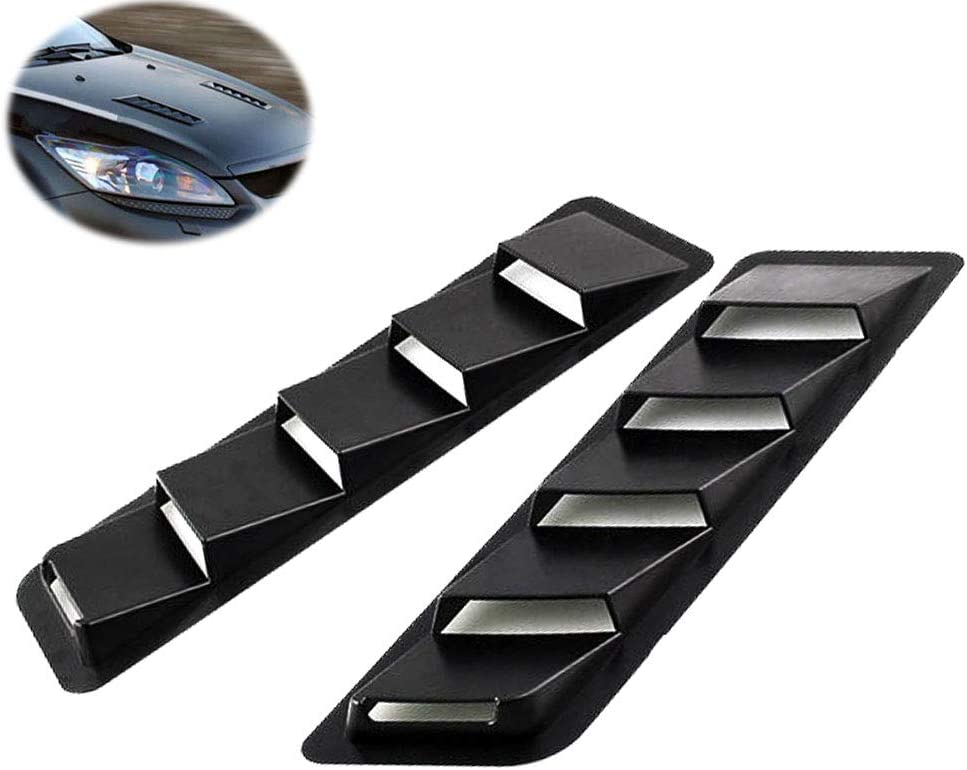 EIGIIS Car Hood Vent Scoop Kit Universal Cold Air Flow Intake Fitment Louvers Cooling Intakes Auto Hoods Vents Bonnet Cover (Black)