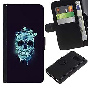 JackGot ( Cráneo azul ) Sony Xperia Z3 Compact / Z3 Mini (Not Z3) la tarjeta de Crédito Slots PU Funda de cuero Monedero caso cubierta de piel