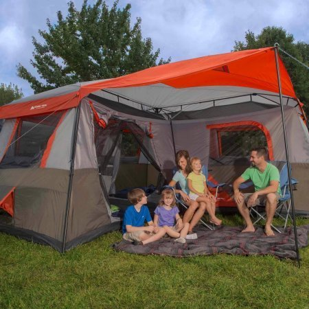 (Ozark Trail 16x16-Feet 12-Person 3 Room Instant Cabin Tent with Pre-Attached Poles)