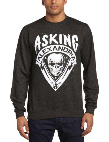 Asking Alexandria Skull Shield Logo New Official Mens Grey Sweatshirt All Sizes