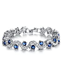 Platinum Plated with Cubic Zirconia Bracelet For Women and Girl Wedding Jewelry