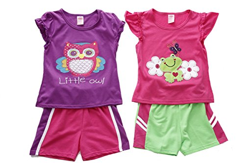 Just Love Two Piece Short Set (Pack of 2),Purple / Pink,12 Months Cute Baby Hands Tee
