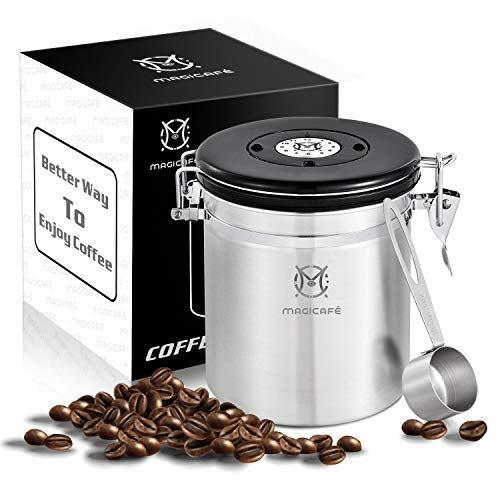 Magicafé Airtight Coffee Container Canister - With CO2 Valve Airscape Coffee Container With Scoop for Ground Coffee Beans Storage Medium 16oz