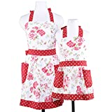 Neoviva Cotton Canvas Kitchen Apron with Pockets for Mama and Me, Style Diana, Floral Lollipop Red