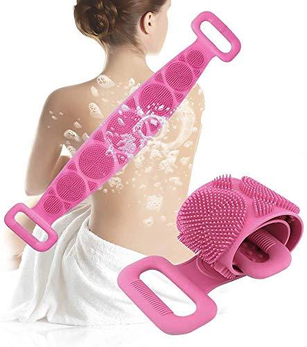 Silikon-Badebürste, Silikon-Rücken, Peeling, langes Silikon, doppelseitig, leicht zu reinigen, schäumt gut, umweltfreundlich, langlebig, 1 Stück