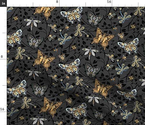 Steampunk Butterfly Fabric - Dancing in The Smokey Moonlight Victorian Heart Thorn Cog Dragonflies Print on Fabric by The Yard - Petal Signature Cotton for Sewing Quilting Apparel Crafts Decor
