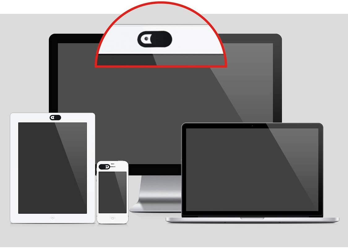 Black 【Majoxin】 1PCS Durable Metal Oval Shape Mini Webcam Cover Shutter Magnet Slider Camera Cover for Web Laptop PC Tablet Privacy