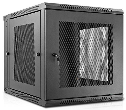 V7 RMWC12U-1N 12U Wall Mount Rack Cabinet Enclosure (Fully assembled, vented door, adjustable mounting rails, cold rolled steel, 5 year warranty)