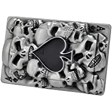 Buckle Rage Adult Mens Ace of Spades Black Skull Goth Belt Buckle Black Silver