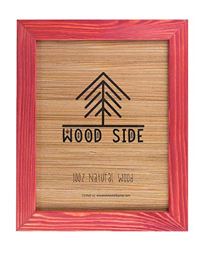 Rustic Wooden Picture Frame 11x14 Inch- 100% Natural Solid Eco Distressed Wood for Wall Mounting Photo Frame - Red (Red Frames Photos For)
