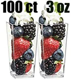 Zappy 100 3oz Tall Square Mini Dessert Cups Plastic Dessert Cups Tasting ...