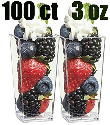Zappy 100 3oz Tall Square Mini Dessert Cups Plastic Dessert Cups Tasting Plastic Shot Glass Shooter Cups Parfait Glasses Appetizer Bowls Trifle Bowl Tumbler Shooter 3 oz Dessert Cups 100 (Black Plastic Martini Glasses)