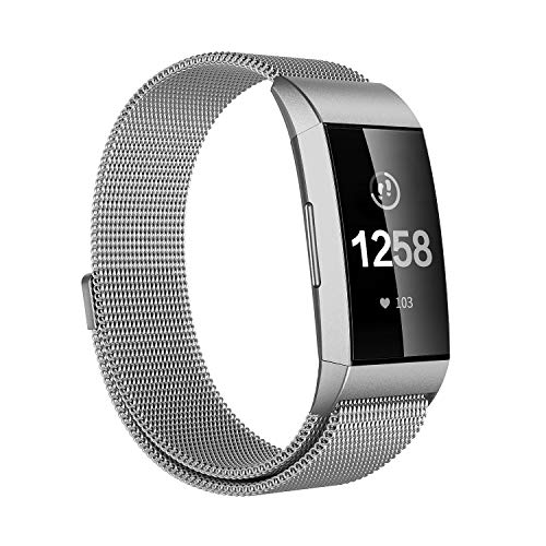 Issmolog Replacement Bands Compatible Fitbit Charge 3, Stainless Steel Milanese Loop Adjustable Magnetic Closure Fitbit Charge 3 Bands Multi Colors Multi Sizes(Silver, Large)