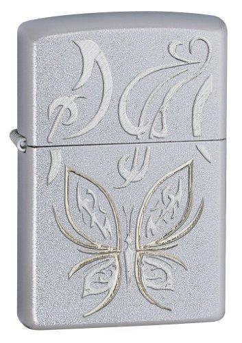 Zippo Butterfly Design Satin Chrome Pocket Lighter