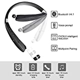 Bluetooth Headphones Aottom Sweatproof Neckband Retractable Foldable Wireless Bluetooth Headsets Stereo Noise Cancelling Handsfree Sport Bluetooth Earphones Earbuds with Mic - Black