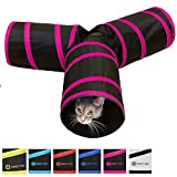 Purrfect Feline Tunnel of Fun, Collapsible 3-Way Cat Tunnel Toy with Crinkle (Pink, Large)