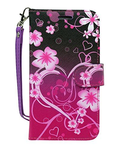Alcatel A30 Fierce (2017) Case, Alcatel A30 Plus Walters Case, Alcatel REVVL Case, PU Wrist Strap Leather, Wallet Flip Protective Case Cover with Card Slots for Walters (Big Heart Pink)
