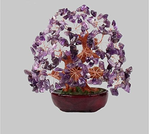 2500 Silk Art 7.48 inch Feng Shui Yin Yang I Ching Purple Crystal Money Tree in Money Bag for Wealth Luck Office Living Room Good Luck Decoration TR-006