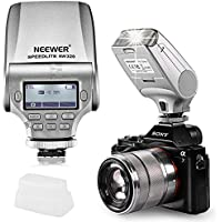 Neewer NW320 TTL LCD Display LED-Assistive Preview Focus Flash Speedlite for Sony A7 A7S/A7SII A7R/A7RII A7II NEX6 RX1 RX1R RX10 RX100II HX50 A3000 A6000 A6300 (Silver)