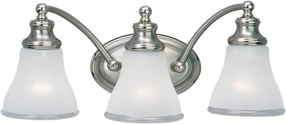 Sea Gull Lighting 40011-773 Three Light Wall Bath Fixture, Two Tone Nickel