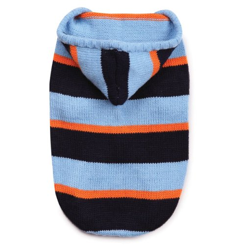 Zack and Zoey Acrylic Striped Knit Dog Hoodie, Small, Blue, My Pet Supplies
