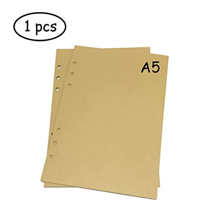 Lvcky - Planificador de 6 anillas, tamaño A5, recambio de papel, hojas sueltas, libretas de papel (1 pieza, 45 hojas/90 páginas), color marrón ...