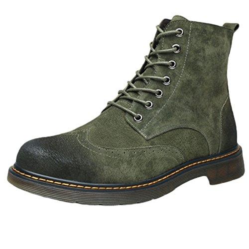 YuanDian Uomo Inverno Camoscio Martin Stivaletti Antiscivolo Traspirante Fodera Lacci Retro Anfibi Scarponcini Stivali Boots Verde Militare Pi