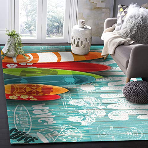 OUR WINGS Modern Area Rug,Surfing Colorful Surfboard 4 Feet by 6 Feet Indoor Area Rugs Living Room Carpets for Home Decor Bedroom Nursery Rugs