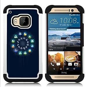 BullDog Case - FOR/HTC ONE M9 / - / Neon Zodiac Signs Glow /- H??brido Heavy Duty caja del tel??fono protector din??mico - silicona suave