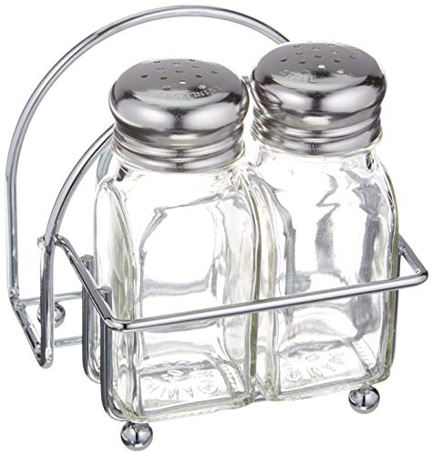 (Tablecraft Chrome Salt and Pepper Shakers and Napkin Caddy)